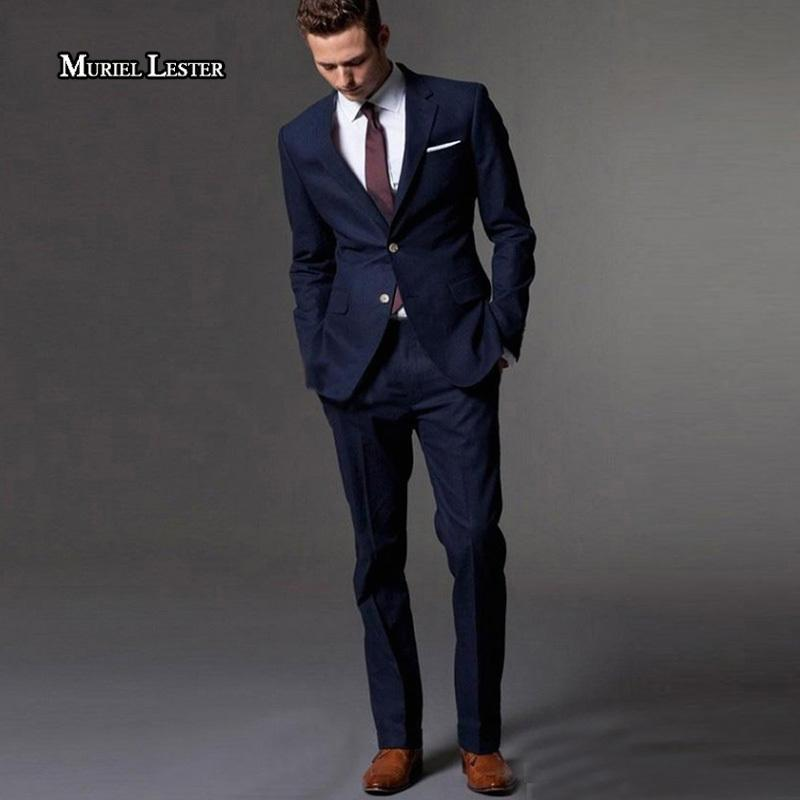 Muriel Lester Dark Blue Men Suit Slim Fit Groom Tuxedos Tailor Made Suit Bespoke Light Navy Blue Wedding Suits For Men 2018 C18122501