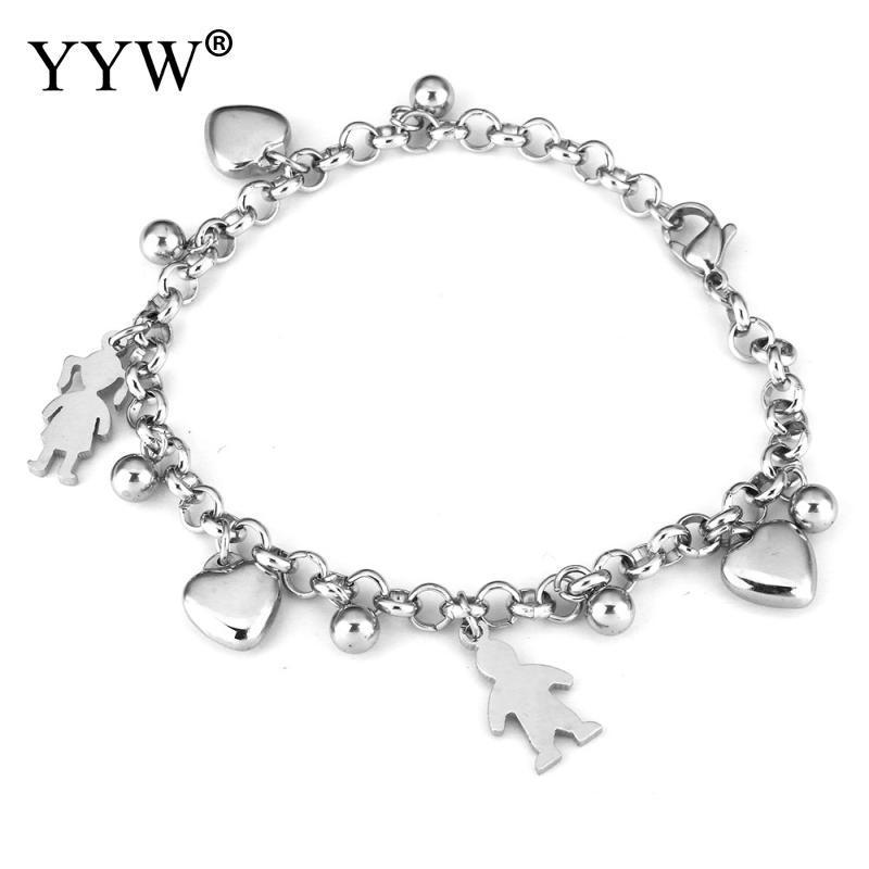 Monili del braccialetto di fascino del cuore del braccialetto dell'acciaio inossidabile del pendente di fascino della ragazza del ragazzo di giorno di San Valentino del regalo di modo bello