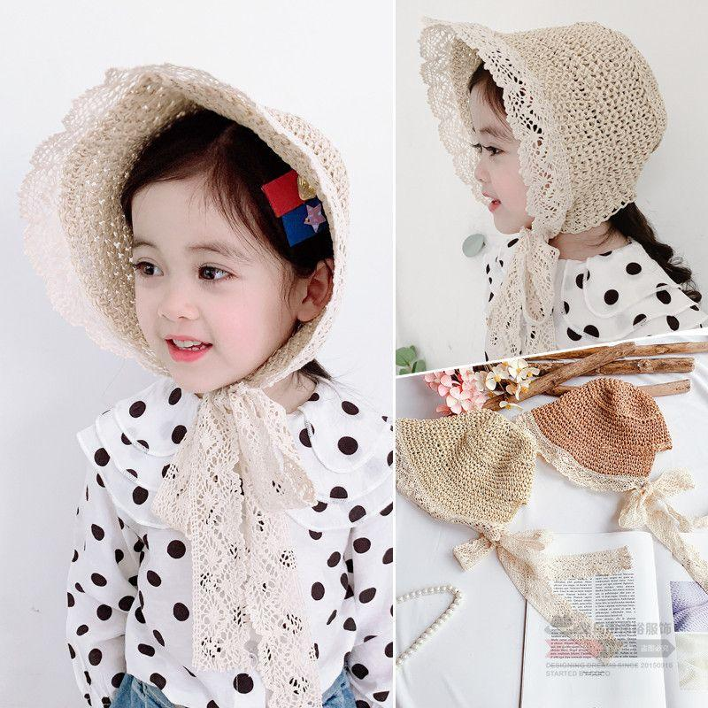 a58dbfd85d52a 2019 Children Kids Girls UV Protection Handmade Straw Sun Hat Crochet  Floral Lace Trim Braided Woven Foldable Wide Brim Beach Cap From Cbaoyu