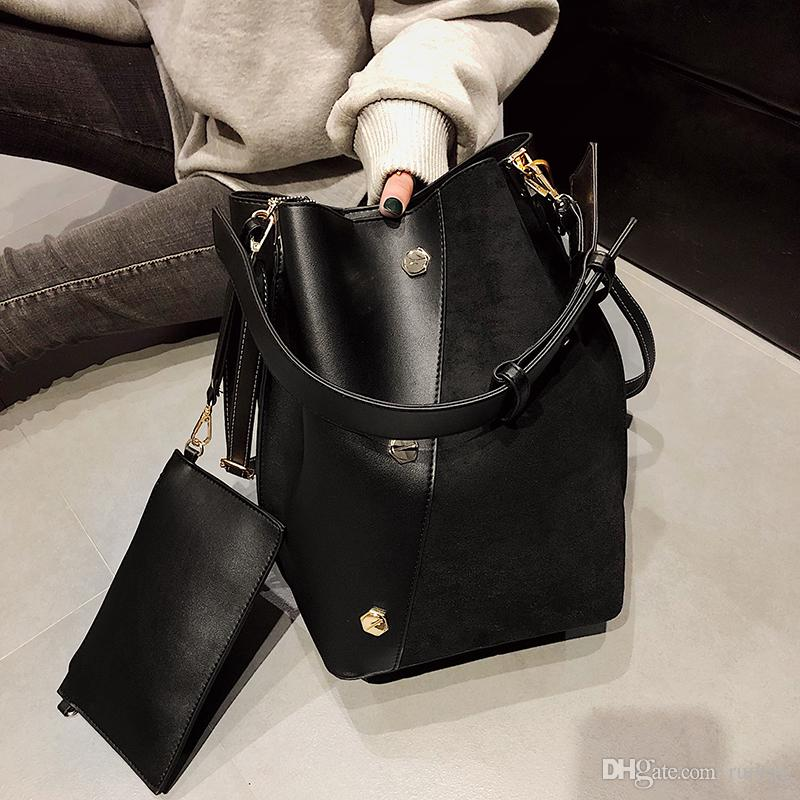 c65d7b0b901 Large Women Crossbody Bags Fashion Wandering Bag Black Composite Bag  Leather Bags Wide Strap Bucket Shoulder Bag Dada/12 Designer Handbags On  Sale Black ...