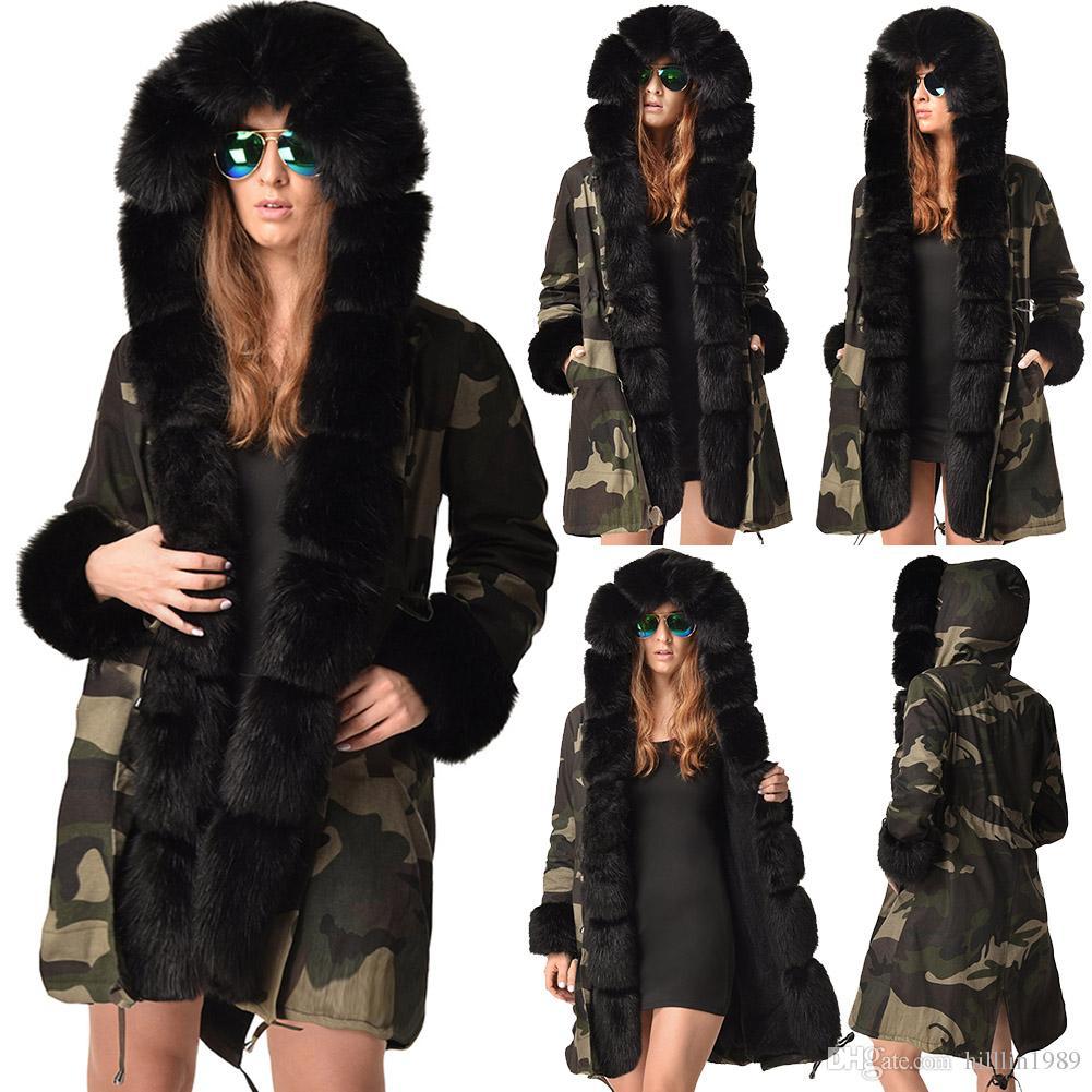 ffbb611b1734 Women's Three-quarter Coat Fashion Outerwear Long Faux Fur Collar Hooded  Winter Fur Camouflage Jacket Warm Long Sleeve Female Garment