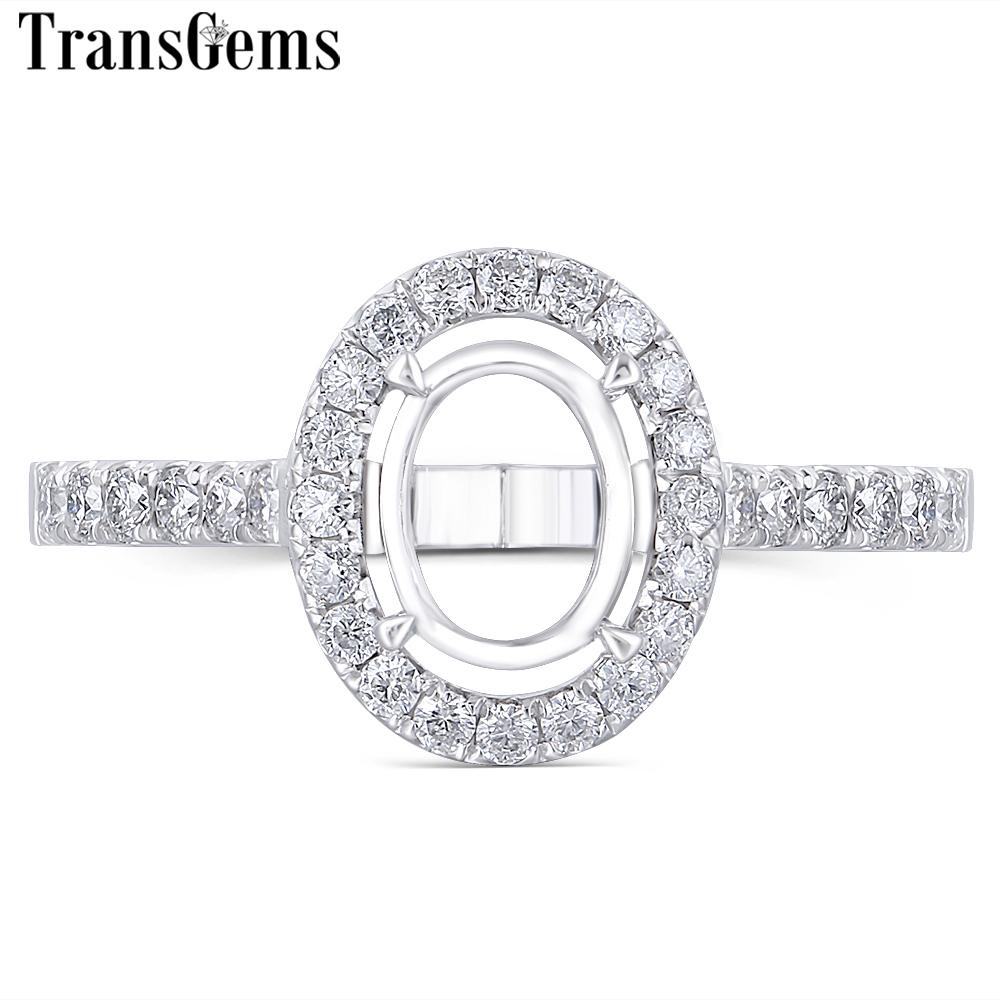 Transgem Customized 14k White Gold Moissanite Stone Semi-mount For Halo Engagement Ring Suitable For Center 7x9mm Oval Stone Y19061203