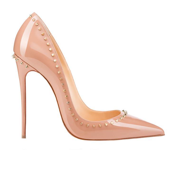 cd8f14bca32 2019 ladies sexy fashion heels 12cm rivet shoes red stiletto heels fashion  heels China size 34-46