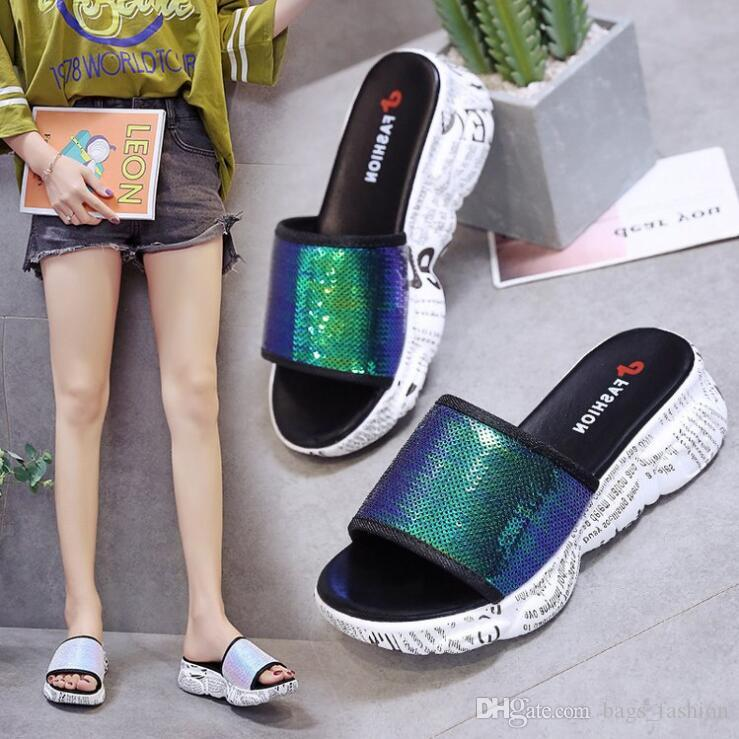 f644c5405 Sequined Sponge Slippers Female Muffin Thick Soled Sandals Slippers High  Heeled Casual Non Slip Shoes Summer Home Slippers Discount Shoes Waterproof  Boots ...