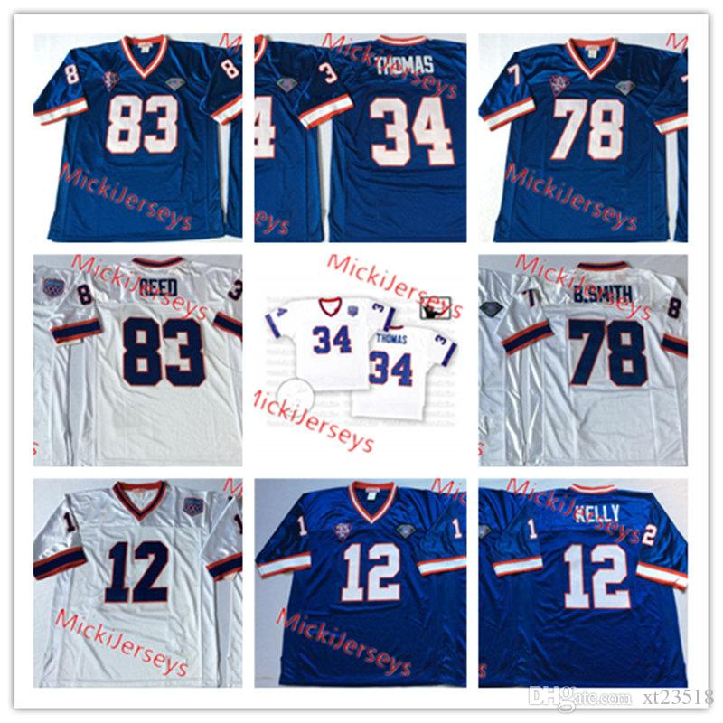 quality design ad5bb 8bdcf Mens NCAA #12 Jim Kelly Vintage Football Jersey Stitched Roayl White #34  Thurman Thomas #78 Bruce Smith #83 Andre Reed Jersey S-3XL