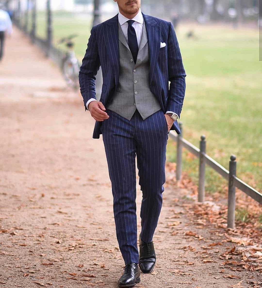 Rope Stripe Men Suit 2019 Fashion Groom Suit Wedding Suits