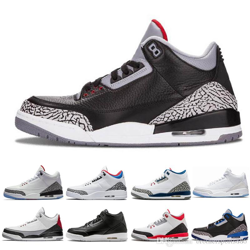 best website 520bc c41a1 Black white Cement III Basketball Shoes tinker sport blue wolf grey  hurricane red New 2018 sneakers mens trainers Michael Sports US 7-13