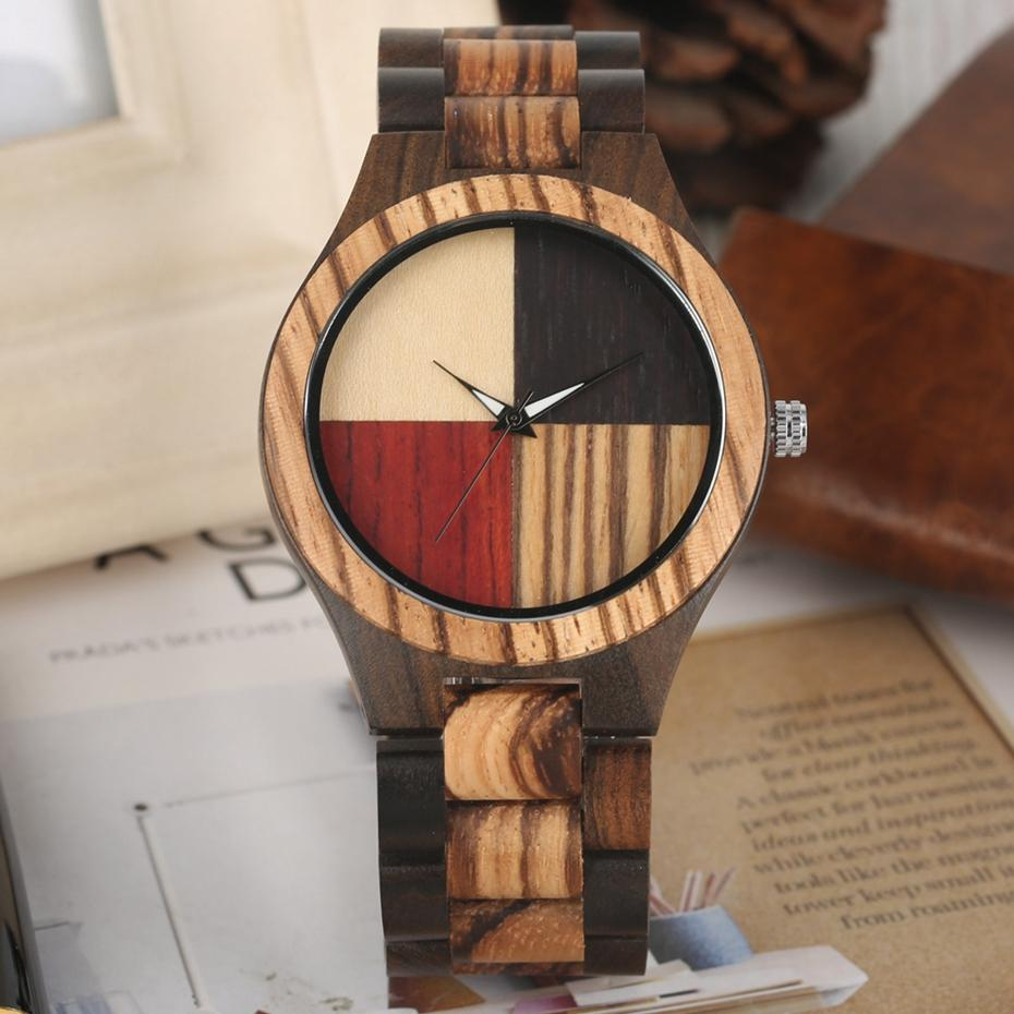 Unique Mixed Color Splice Dial Wood Watch Men's Retro Full Wooden Adjustable Band Quartz Clock Male Top Luxury Relogio Masculino