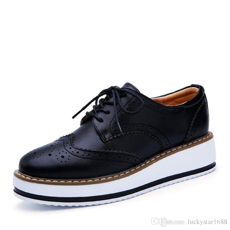 Spring Autumn Genuine Leather Women Flat platform Shoes Brogue Vintage Shoes For Women Matte skin Female Derbies Footwear chaussures femme