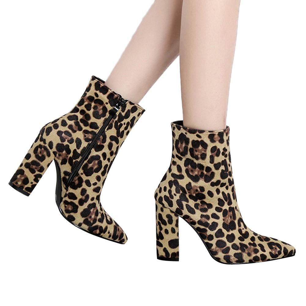 e89988a85f5 Fashion Leopard Print Women S Ankle Boots 2019 New Arrival Zip Pointed Toe  Shoes High Heels Females Botas Size 35 40 O11 Hiking Boots Shoes For Women  From ...