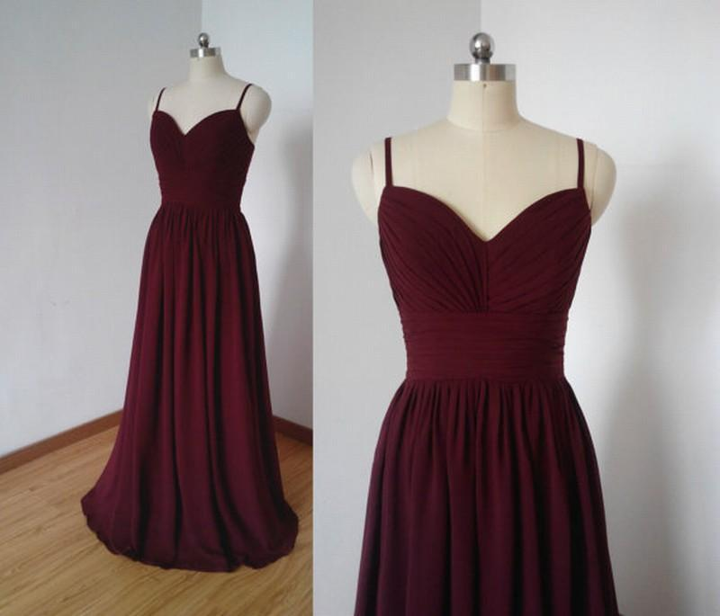 Wine Red Chiffon Ruffle Spaghetti Strap Pageant Evening Dresses Women's Fashion Bridal Gown Special Occasion Prom Bridesmaid Party