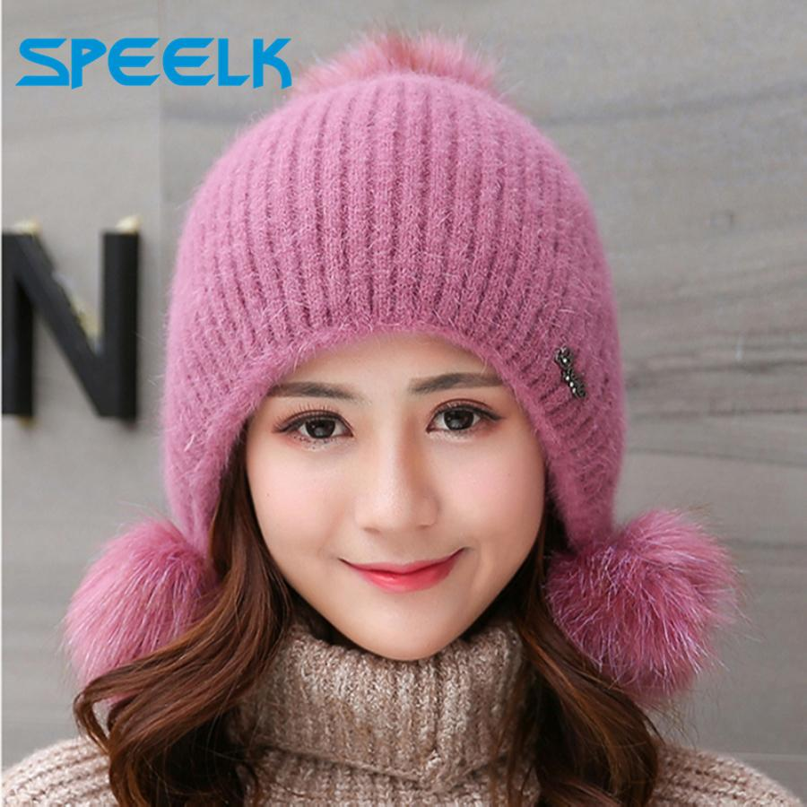 Rabbit Plush Hats Women Winter Fashion Beanies Sweet Cute Hedging Cap Velvet Wool Hat Student Hair Ball Caps Warm Knit Hat Y200103