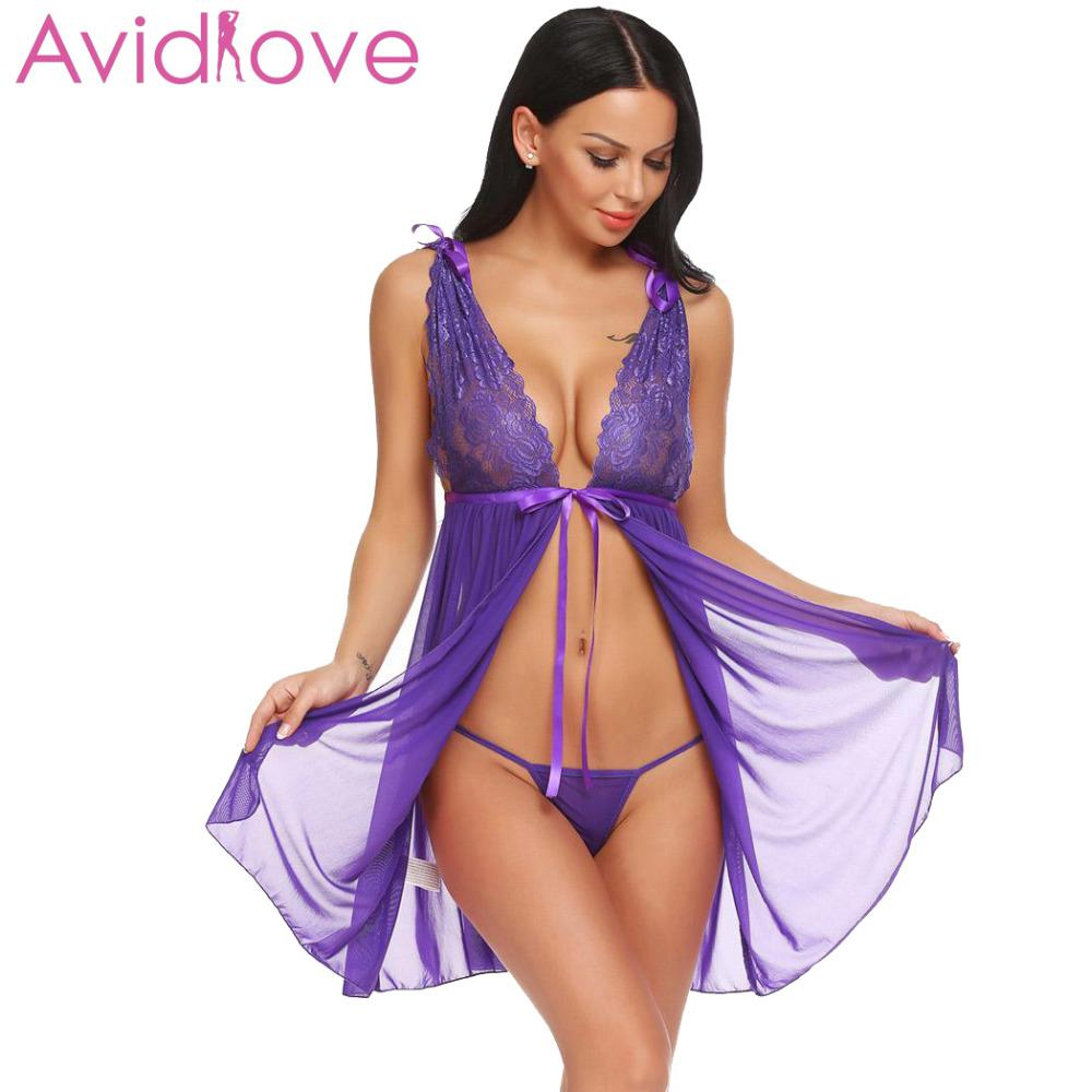 68b73289f3 Avidlove Women Sexy Lingerie Erotic Underwear Costumes Babydoll Oepn Back  Sheer Lace Babydoll Set Nightwear with G-String D18120802 Online with   17.49 Piece ...