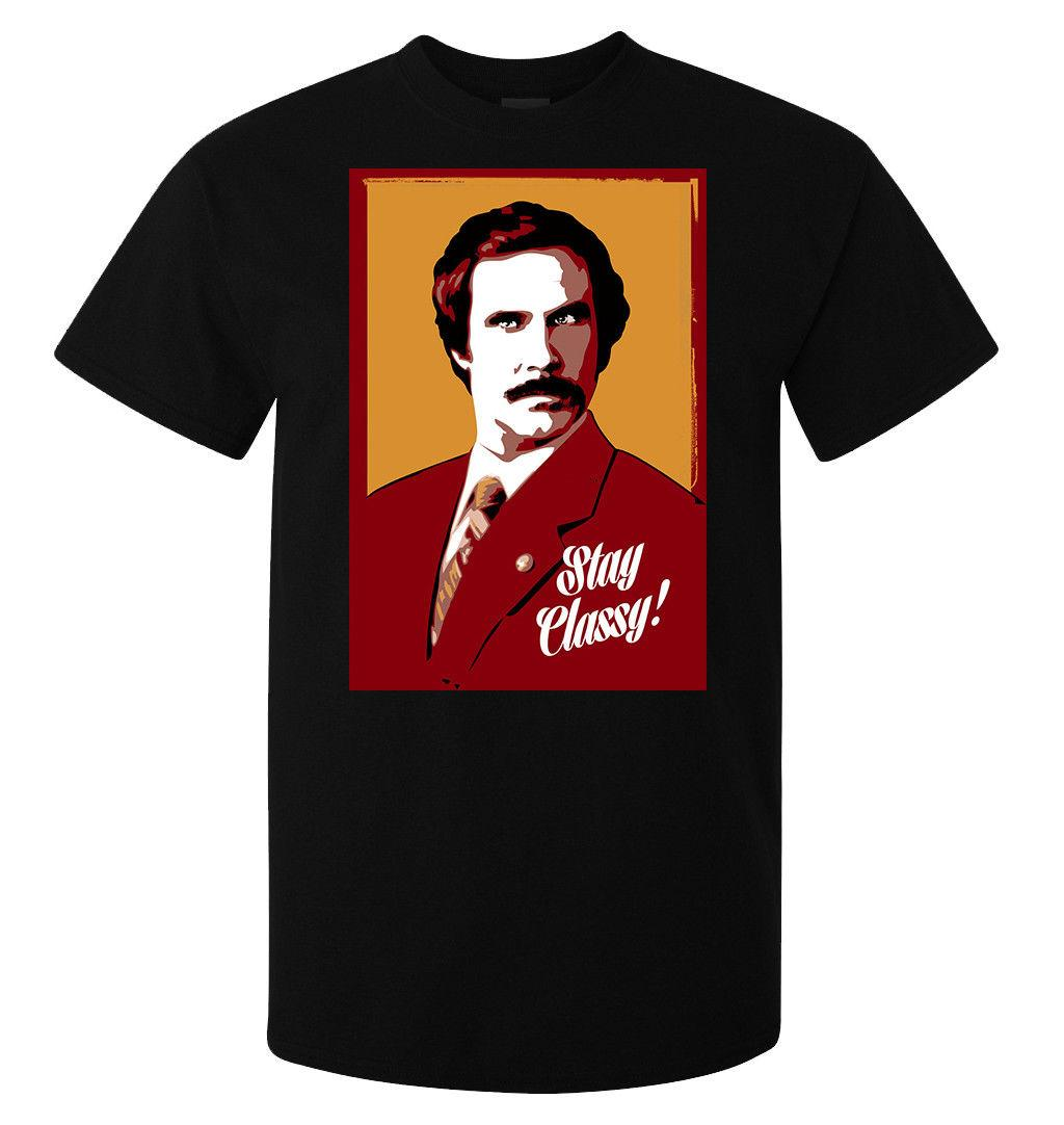 Will Ferrell Anchorman Stay Classy Art men's (woman's available) t shirt black white black grey red trousers tshirt