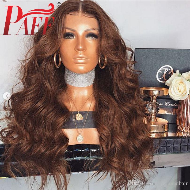 PAFF Brown Human Hair Full Lace Wigs Body Wave Brazilian Remy Hair Middle Part Glueless Wig With Baby Hair