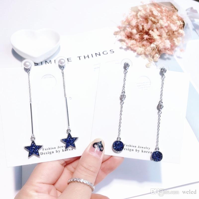 fd92f629b0e5 Compre 7 Diseños De Moda Pendientes De Cristal Azul Rhinestone Elegante  Para Mujer Stud Pendientes Colgantes Largos Para Niñas Joyería De Lujo A   1.95 Del ...