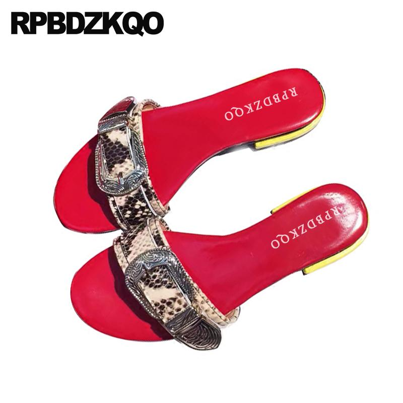 52d7d50b69b21 Open Toe Snake Block Thick Low Heel Shoes Square Slip On Fashion Ladies  Women Sandals 2018 Summer Slides Red Genuine Leather Wholesale Shoes  Sandles From ...