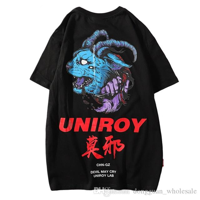 faa5b7e4dcc3 2019 T Shirt Blue Devil Men Hip Hop T Shirts Harajuku Streetwear Summer  Tshirt Short Sleeve Cotton Tops Tees Back Print Hipster Awesome T Shirt  Designs Tea ...
