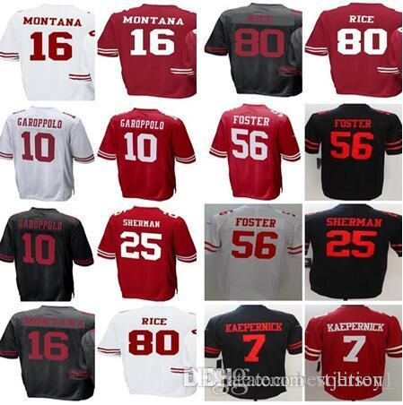 7b95cfd4a Cheap San Francisco 49ers 10 Jimmy Garoppolo 7 Colin Kaepernick Jersey 16  Joe Montana 25 Sherman 56 Reuben Foster 80 Rice Men Women Youth Jerseys