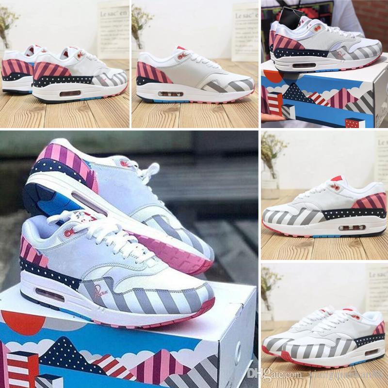 Nike air max 87 Nuevo 1 Zapatillas de deporte para hombre Low Jewel Mini Mujer Leopardo Zapatos casuales 87 Hombre Atmos University Negro Blanco X 1
