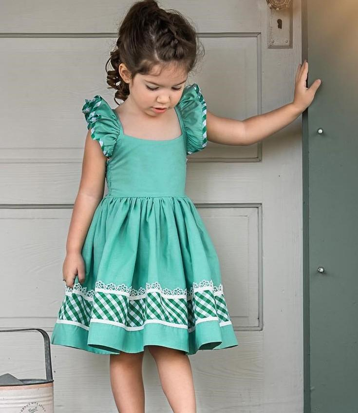 e71ad4c71189 2019 Toddler Girl Summer Dresses 2019 Kids Girls Plaid Falbala ...