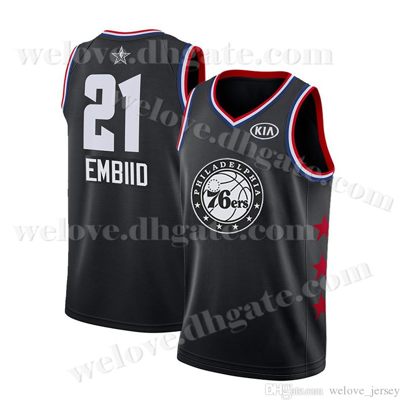 quality design a8373 35775 Philadelphia Jersey 76ers 21 Joel # Embiid Ben 25 Simmons 2019 New  Basketball Jerseys Black White 23 LeBron jerseys James