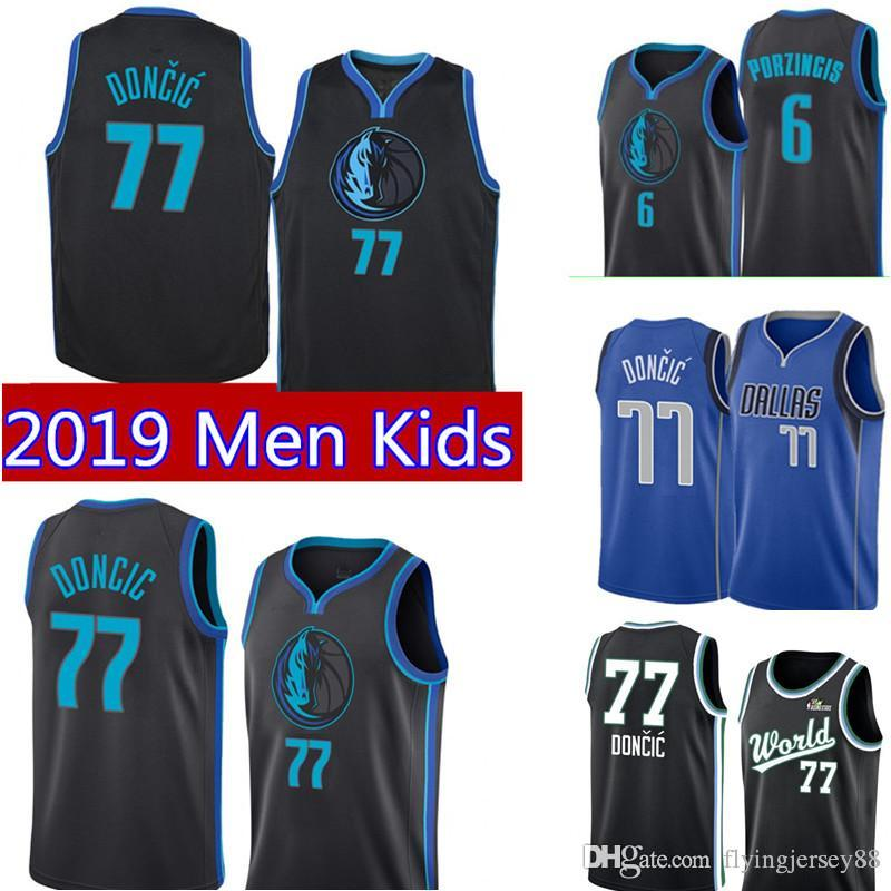df938fe0a17 Kids Youth Luka 77 Doncic Dallas New Mavericks Jersey Mens Doncic Dallas  Royal Swingman Jersey Icon Edition Embroidery Basketball Jerseys UK 2019  From ...