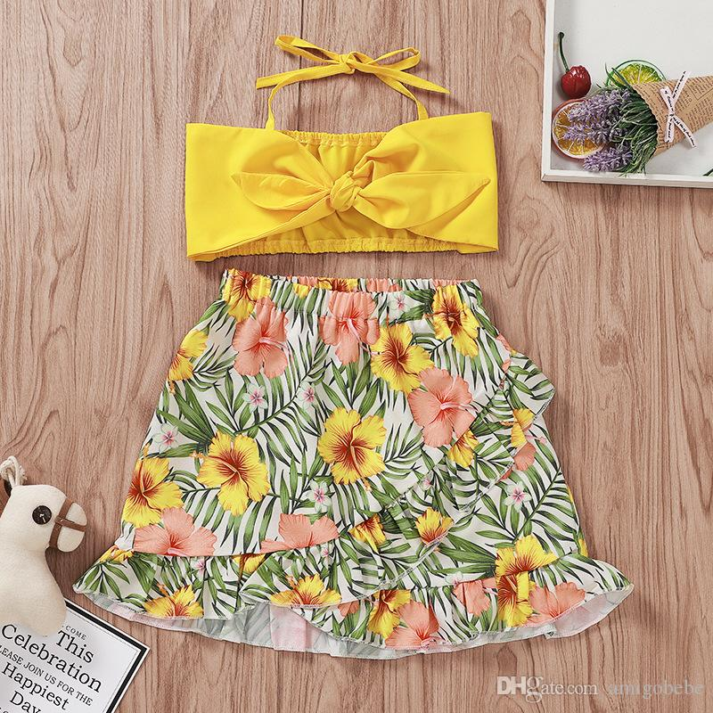 Floral Pig Girl Sling Skirt Set Printed Knee-Length Skirt Bandage Solid Bow Short Tops Two-Piece Set Kids Designer Clothes Girls 24M-5T