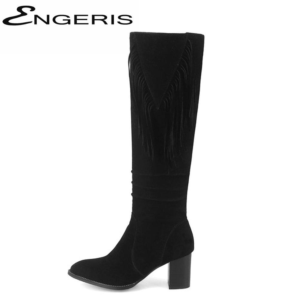 2b53c45c8e5 ENGERIS Black Faux Suede Pointed Toe High Heel Tassel Slouch Boots Green  Chunky Heel Zipper Fringe Knee High Boots Ladies Shoes