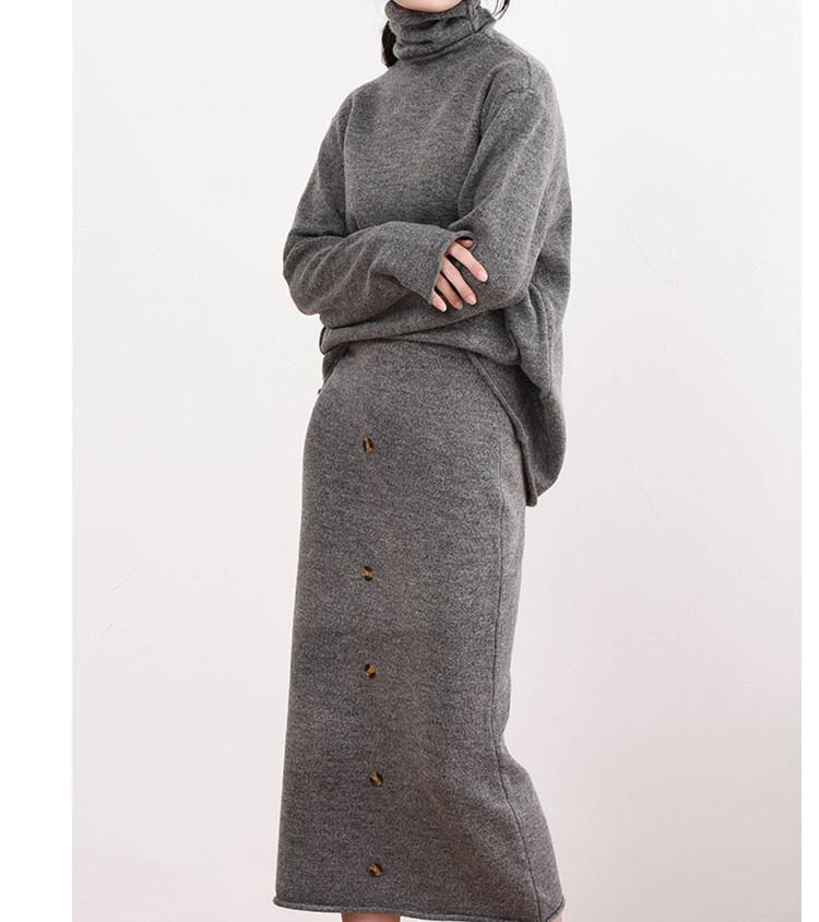 New 2018 Autumn Winter Knitted Women Two Piece Sets Fashion Turtleneck Sweater Tops and Midi Skirts Loose Outfits