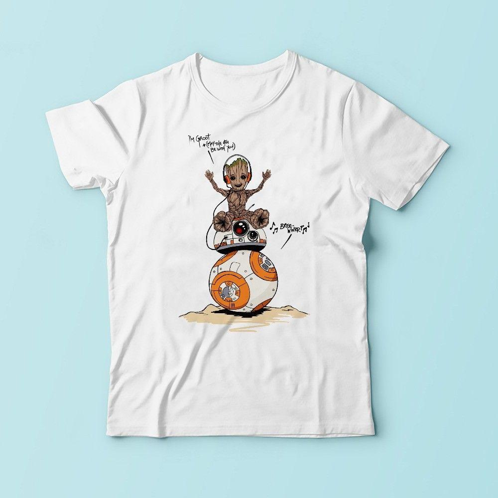 BB 8 Groot BB8 R2D2 Tshirt Men\'S White Tee Available Plus Size ...