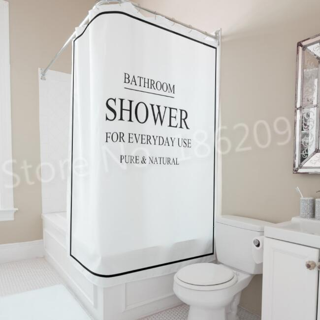 2019 Modern Black White Bath Bathroom Curtain Bathroom Shower For