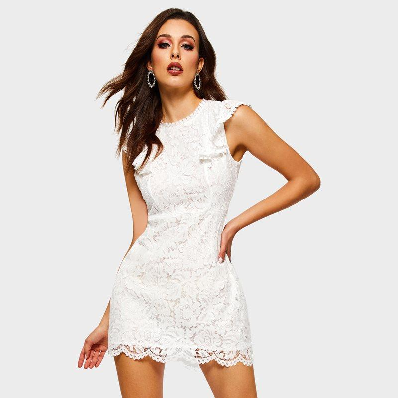 d7051ea04318a5 Lace Short Dress Women Solid White Sweet Mini Hollow Out Sexy Summer Street  Casual Fashion Elegant Girl Party Bodycon Dresses Black Womens Clothes  Black And ...
