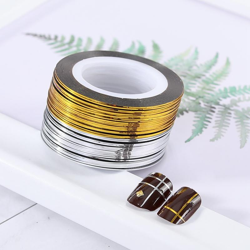 1 Roll Gold Silver Glitter Striping Tape Lines For Nail Art 0 5mm Adhesive  Nail Sticker Foil DIY Manicure Decoration Tip