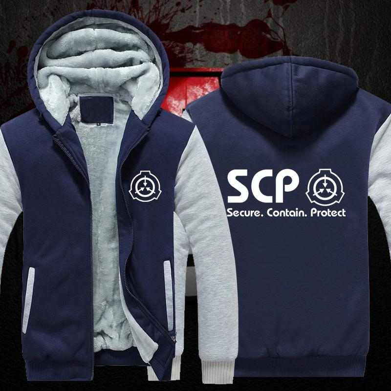 27ced6616b793 2019 SCP Anime Secure Contain Protect Coat Thick Fleece Mens Outwear Big  Yards Cotton Hoodie Coat Jacket Parkas Warm From Odeletta