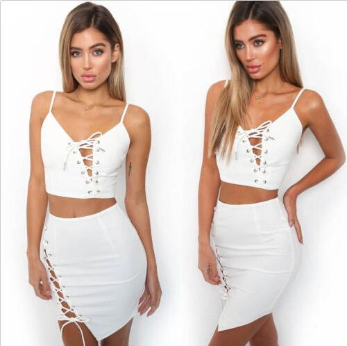 03d0060280cf1 Women Lady 2 Piece Clothes Sets Bodycon Crop Top Skinny Skirt Set Lace Up  Skirts Outfits Party Club Clothing
