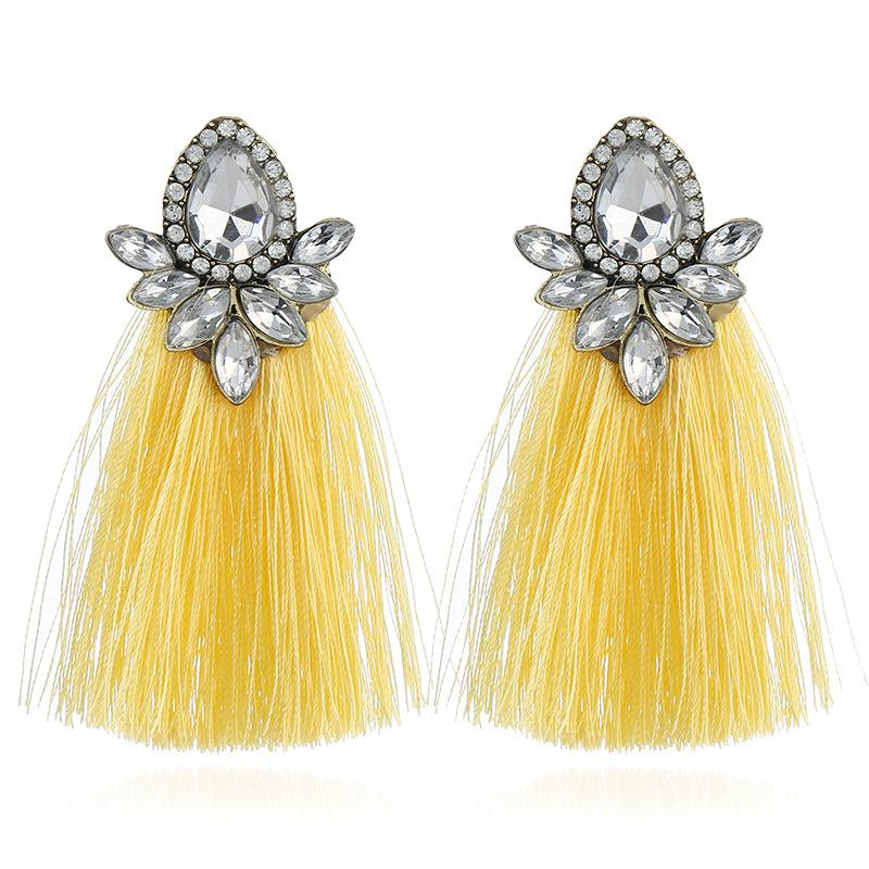 Women's Fashion Personality Personality New Vintage Bohemian Style Fringe And Diamonds Earrings Ethnic Style Jewelry Gifts