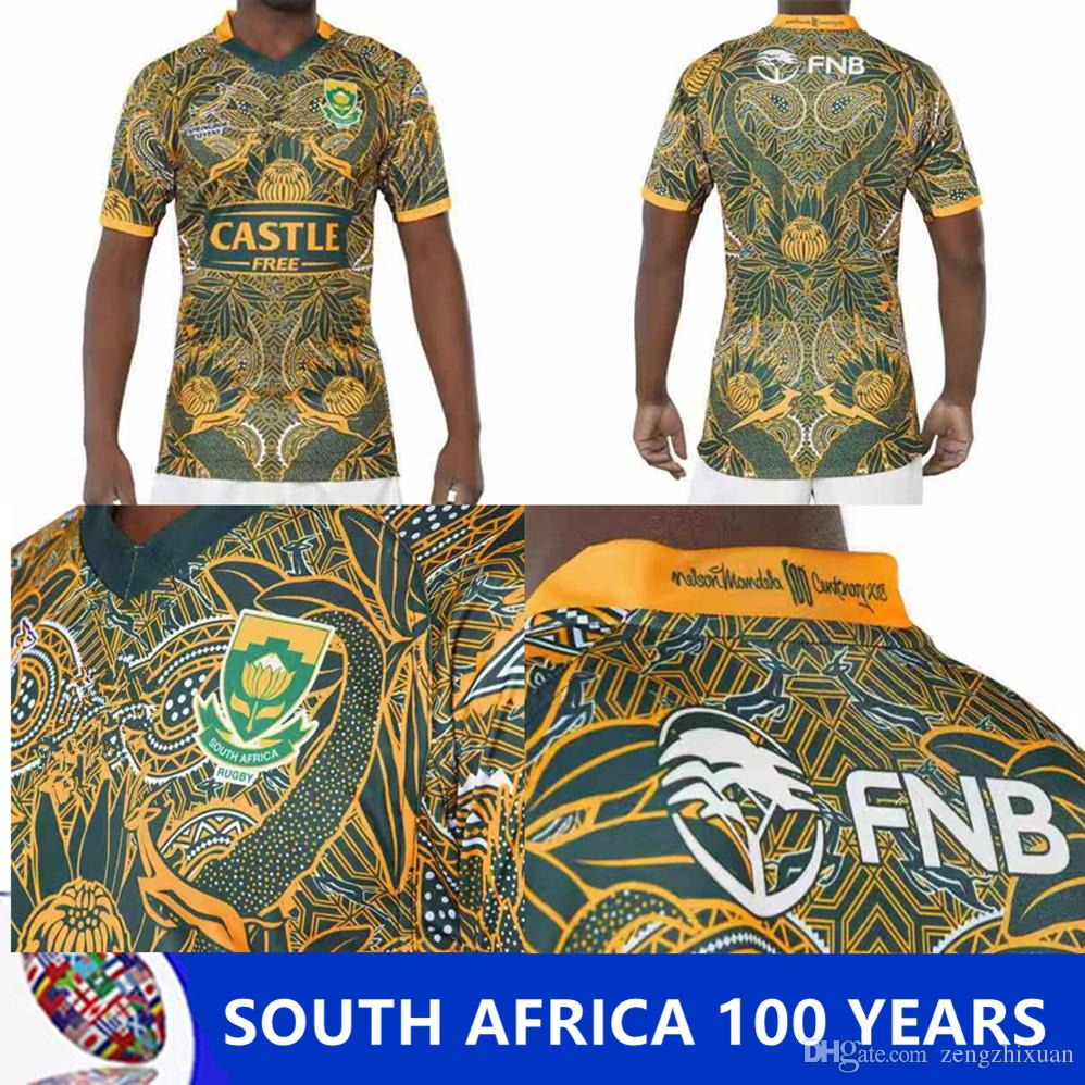 6e4dd0ae1bc 2019 2019 South Africa 100 YEARS JERSEY 2018 2019 South Africa Home And Away  Jersey Shirt Springboks South African National Team Rugby Size S 3XL From  ...