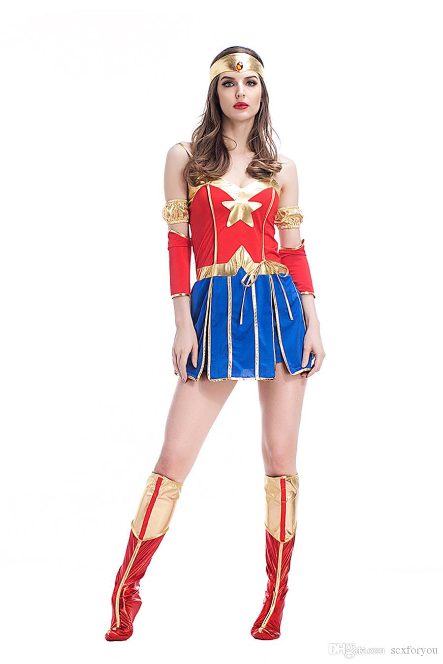 Adult Women Halloween Superhero Wonder ladies Costume Short Sexy Sleeveless Dress Fancy Cosplay Outfit Clothing Set For girls