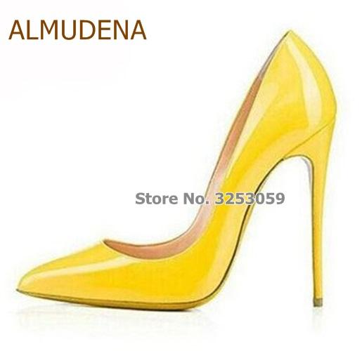 94618e18437 ALMUDENA Best Selling Girl'S Bright Yellow Mirrored Leather Pumps ...