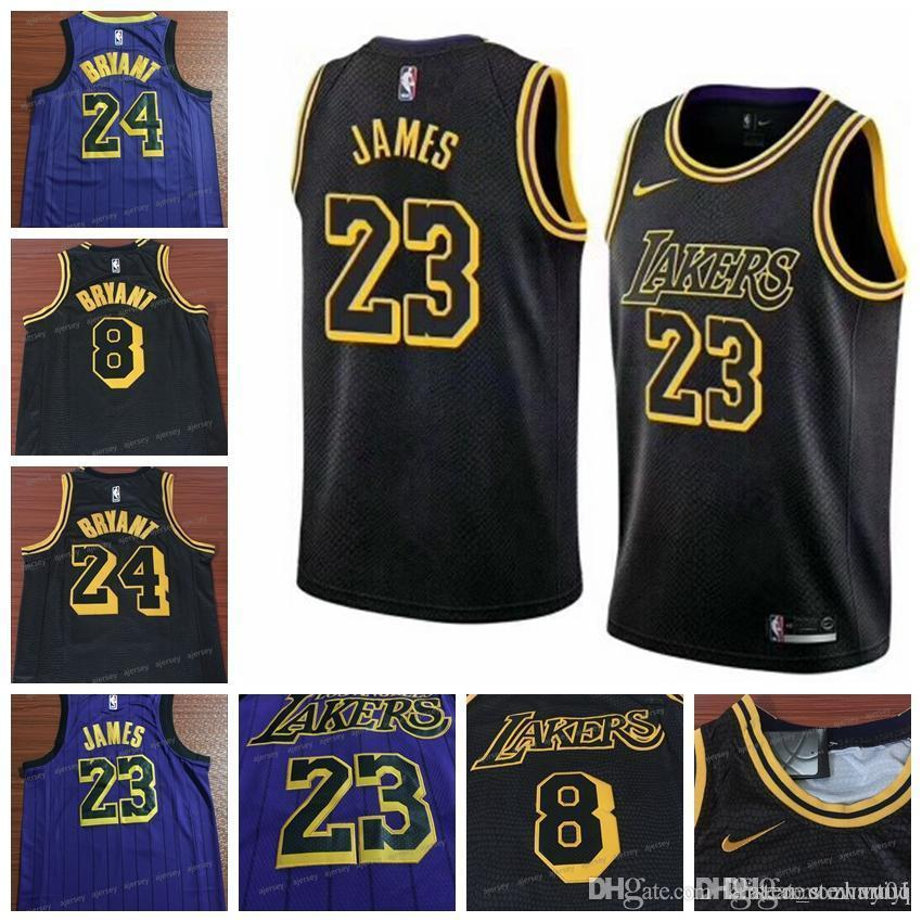 outlet store bb99b fb8c4 2018-19 City style Men Basketball Jersey Kobe Bryant LeBron James Top  Quality Jerseys Stitched Free Shipping size s-2xl