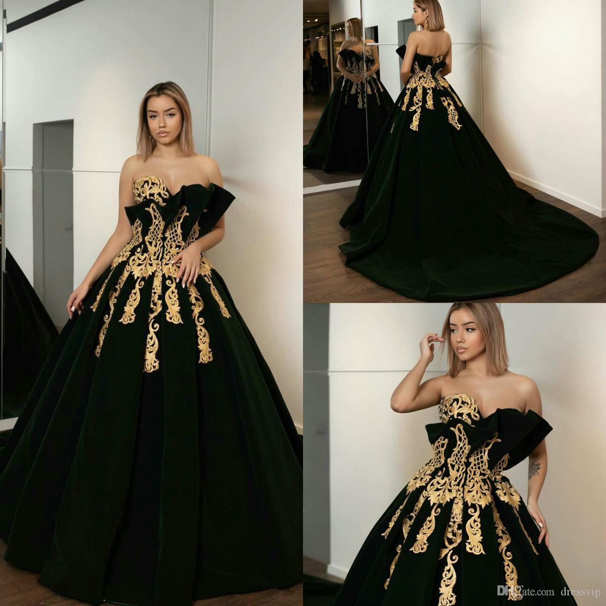 d357ed147c3 2019 Dark Green Prom Dresses Sweetheart Velvet Sweep Train Luxury Arabic Evening  Dress Party Wear Plus Size Special Occasion Gowns Plus Size Prom Dresses ...