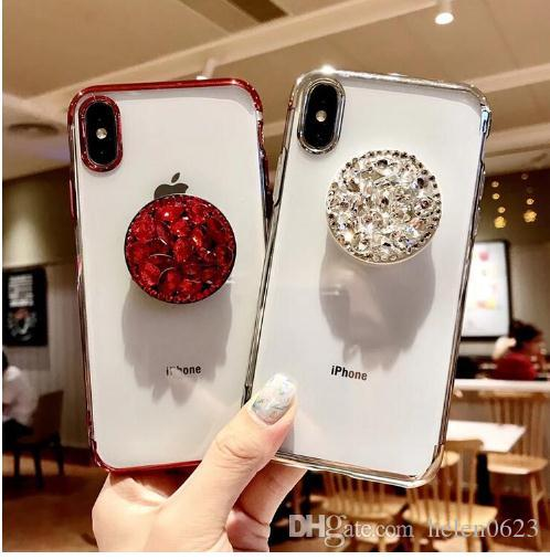 Luxury Capa Bling Diamond Airbag Bracket Rhinestone Crystal Clear Soft Case  Cover For Iphone 6 6S PLUS 7 8 PLUS X 10 XS MAX XR Clear Iphone Xs Case Case  for ... 2694e169d030