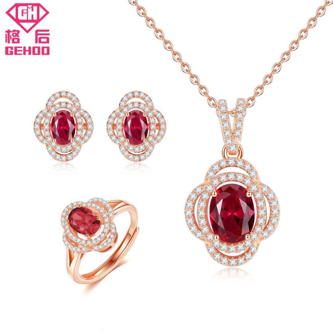 f226e985760b Compre GEHOO Mujeres 925 Conjuntos De Joyas Finas De Plata Bonito Rojo Rubí  Pavimentado Circón Encanto Colgante Collar Stud Pendientes Anillo A  26.54  Del ...