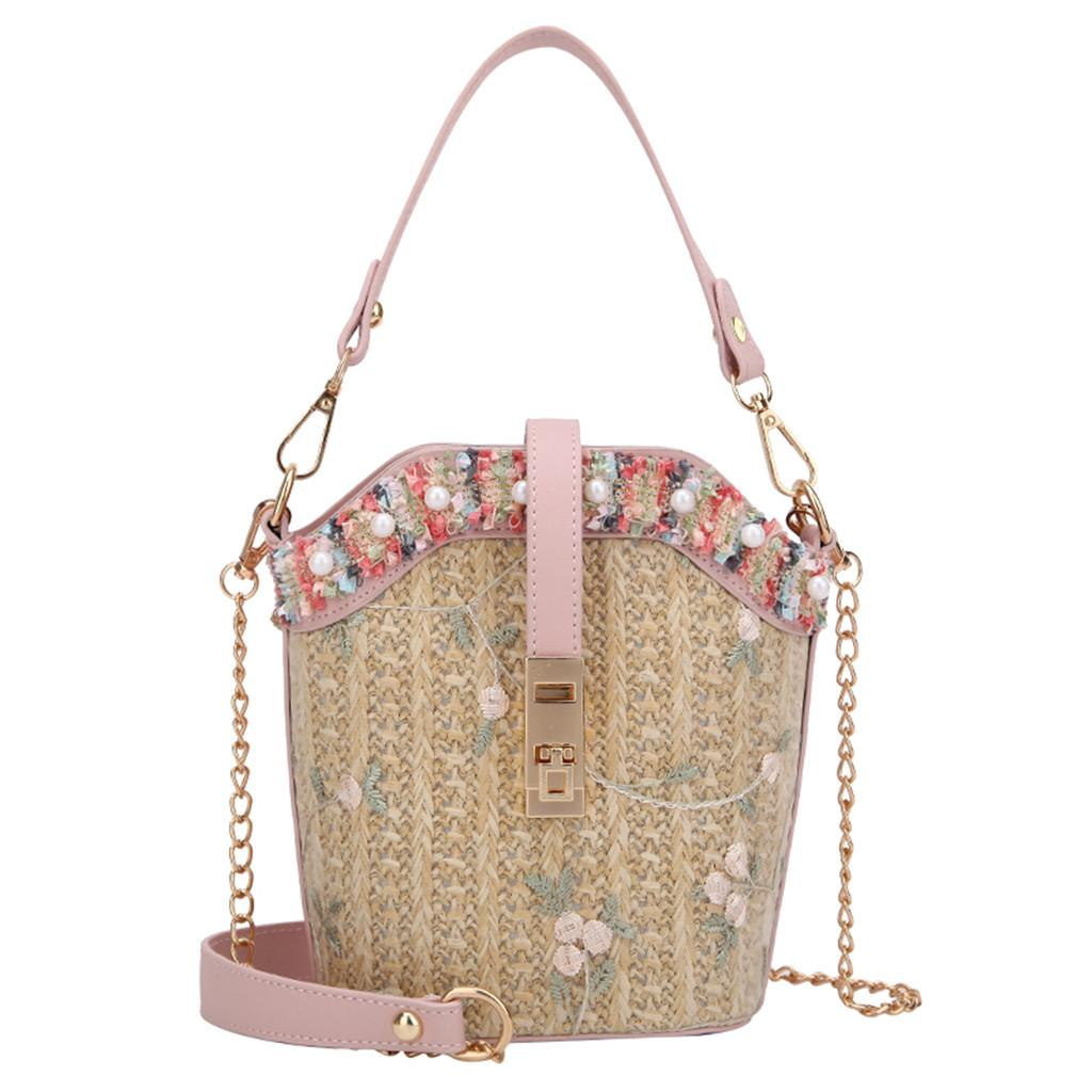 Straw Rainbow Edge Top Goldern Chain Barrel Bag Women Beach Lace Embroid Straw Bucket Bag Burlap Square Messenger Bags