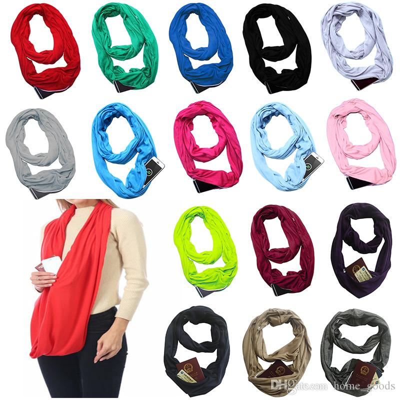 20 colors Pocket Scarves For Women Girls Lightweight Infinity Scarf Wrap Hidden Zipper Pocket Travel Scarves Storage Bin Christmas Gifts
