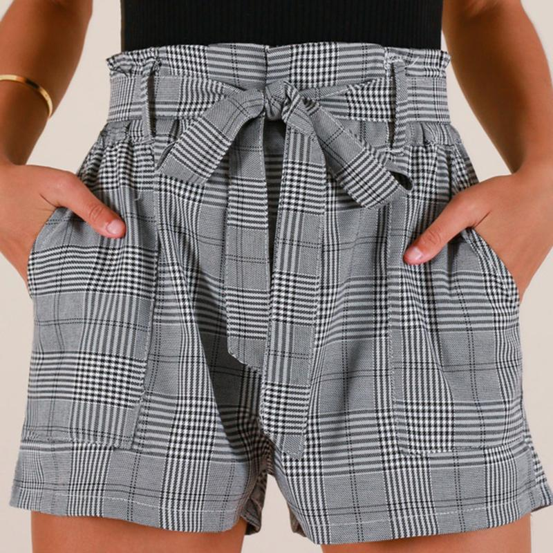 d0bfd64a7193 New Women Casual Lace Up Waist Plaid Shorts Summer Hot Sale High ...