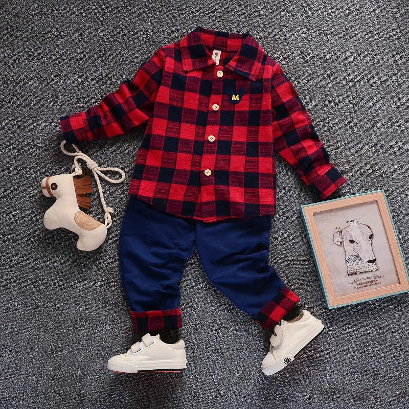 fc17cf318 2018 Spring Kids Warm Kids Costumes Set Boy Children s Fashion Plaid ...