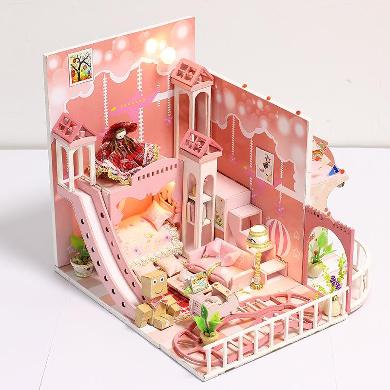 Diy Handmade Wooden Dollhouse Miniature Furniture Doll House