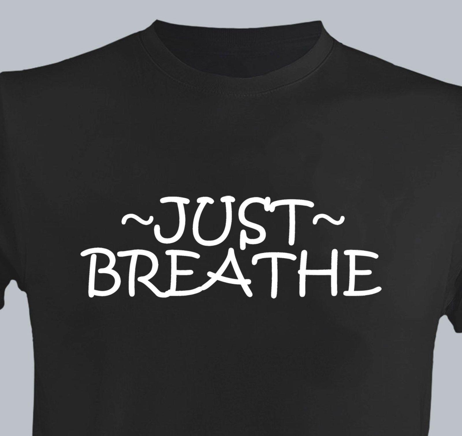 image about Printable Tshirt Vinyl named Accurately Breathe Guys Fresh T-blouse VINYL Print Determination Slogan Fitness center Exercise routine Relaxed white black gray purple pants tshirt